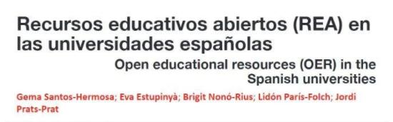 Recursos Educativos Abiertos OER en las universidades españolas
